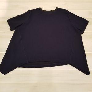 {XL} Zara Woman Asymmetrical Hem Blouse Navy